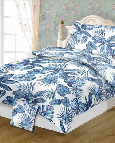 Jahu Bavlnené obliečky Monstera blue, 140 x 200 cm, 70 x 90 cm, 40 x 40 cm