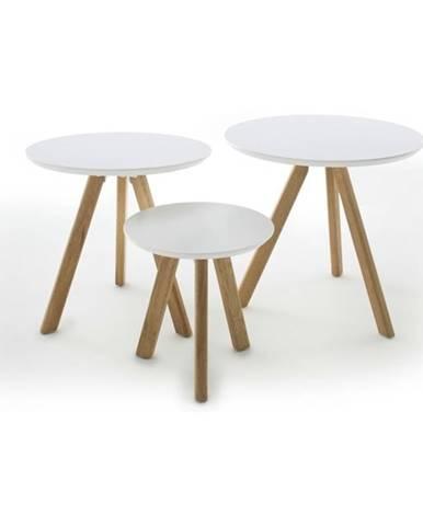 Prístavný stolík SILAS biela/dub