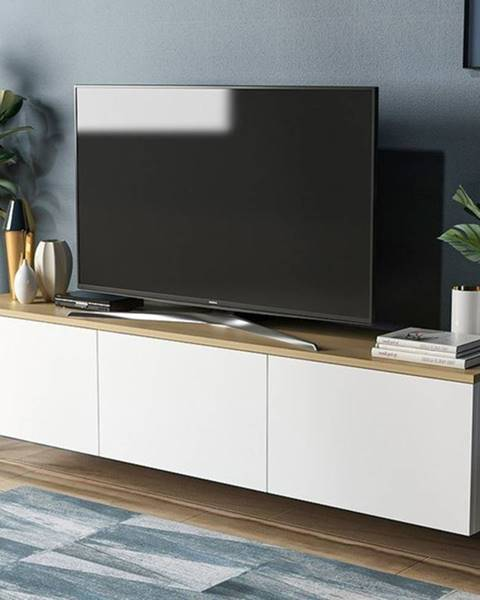 Sconto TV stolík NEON biela/dub