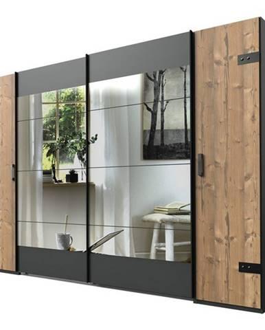 Šatníková skriňa ALYSSA strieborná jedľa/grafit, 272 cm, 2 zrkadlá