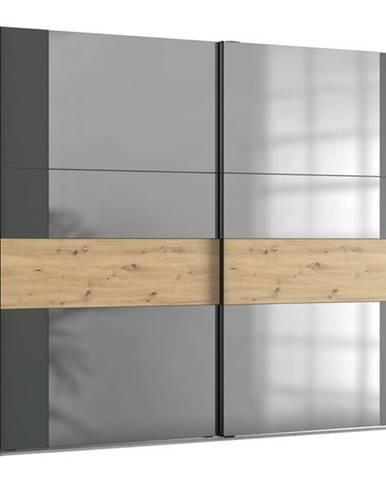 Šatníková skriňa SAVANNA dub artisan/grafit, 250 cm