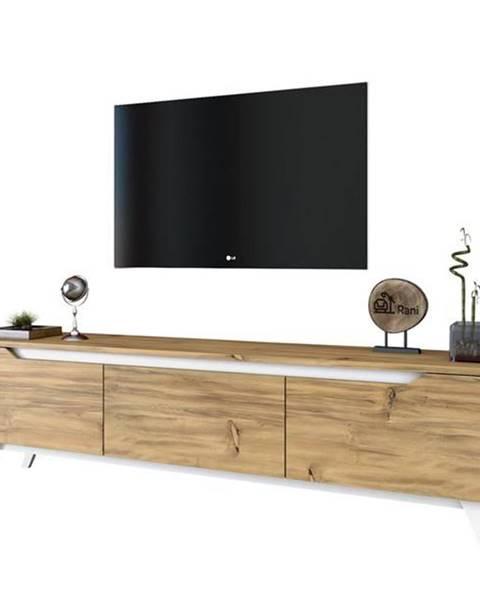 Sconto TV stolík QUINN svetlý orech/biela