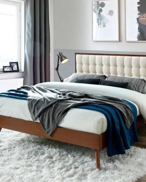 OKAY nábytok Posteľ Frances 160x200, orech, vrátane roštu, bez matracov a ÚP
