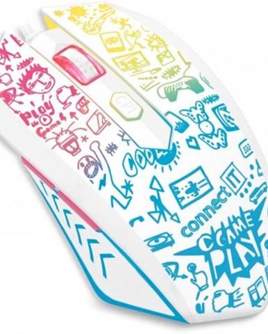 Drôtová myš Connect IT Doodle, 6 tlačidiel, podsvietená, biela