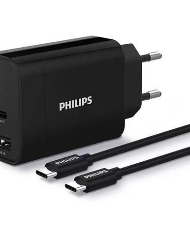 Nabíjačka do siete Philips 1x USB-C, 1x USB A + USB-C kabel 1m