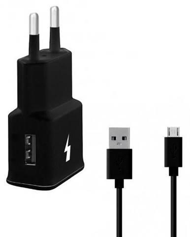 Nabíjačka do siete WG 1xUSB, QC 3.0 + Micro USB kabel čierna