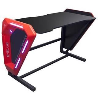 Herný stôl E-Blue 125x62 cm, podsvícený čierny/červený