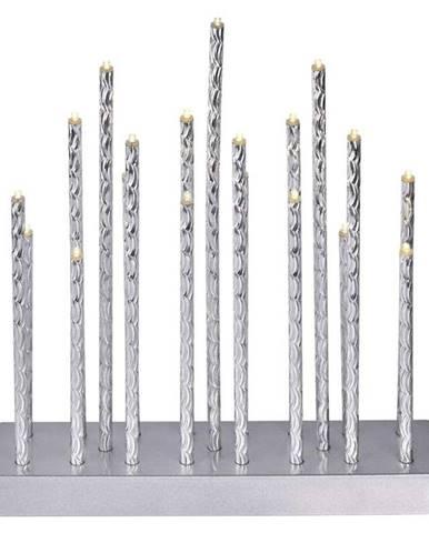 LED dekorace  Emos svícen stříbrný, 3× AA, teplá bílá, časovač