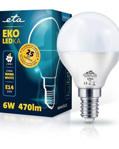 LED žiarovka ETA EKO LEDka mini globe 6W, E14, teplá biela