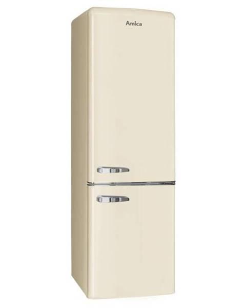 Amica Kombinácia chladničky s mrazničkou Amica Retro Kgcr 387100 B béžov