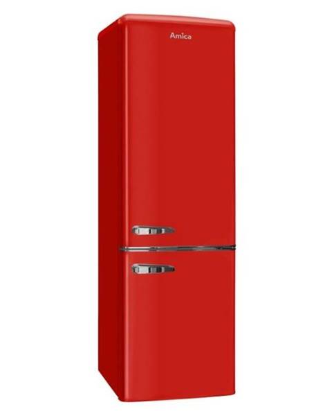 Amica Kombinácia chladničky s mrazničkou Amica Retro Kgcr 387100 R červen