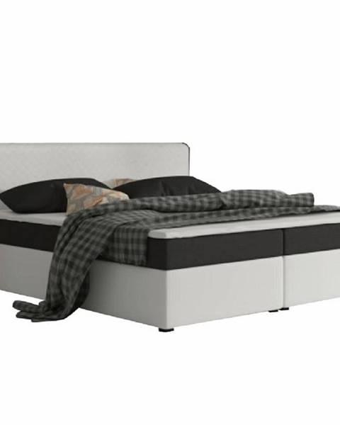 Tempo Kondela Komfortná posteľ čierna látka/biela ekokoža 160x200 NOVARA KOMFORT