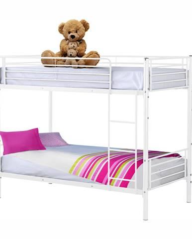 Kovová poschodová rozložiteľná posteľ biela 90x200 JAMILA