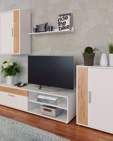 Obývacia stena biela/dub artisan KEVIN