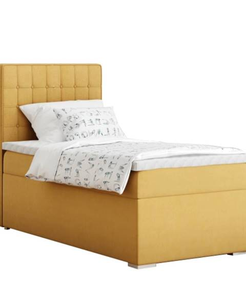 Tempo Kondela Boxspringová posteľ jednolôžko horčicová 90x200 ľavá TERY