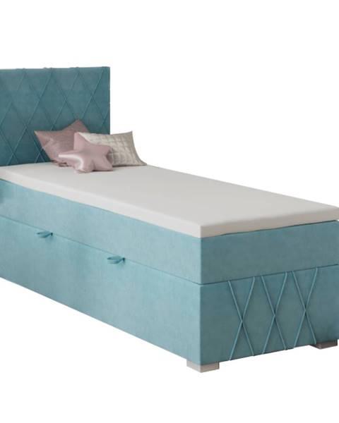 Tempo Kondela Boxspringová posteľ jednolôžko modrá 80x200 ľavá PAXTON