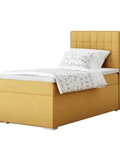 Boxspringová posteľ jednolôžko horčicová 90x200 pravá TERY