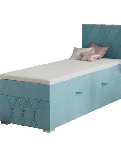 Boxspringová posteľ jednolôžko modrá 80x200 pravá PAXTON