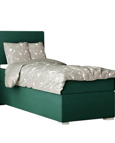 Boxspringová posteľ jednolôžko zelená 80x200 ľavá SAFRA