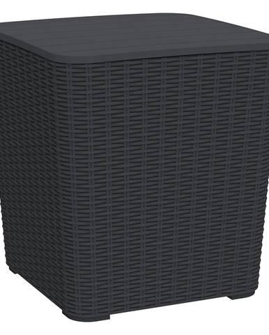 Záhradný úložný box/príručný stolík čierna UGUR