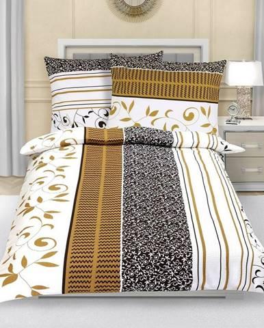 Bellatex Flanelové obliečky Lístky hnedá, 140 x 200 cm, 70 x 90 cm