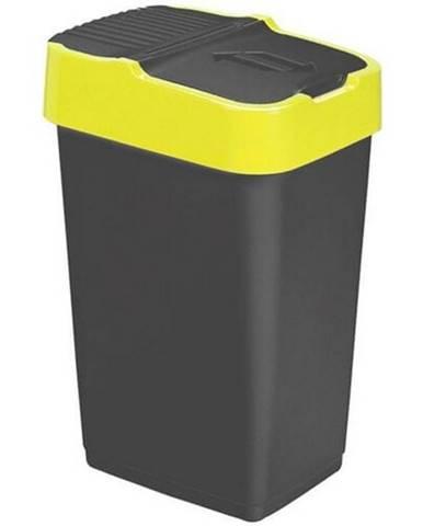 Heidrun Odpadkový kôš 60 l, čierny so žltým pruhom