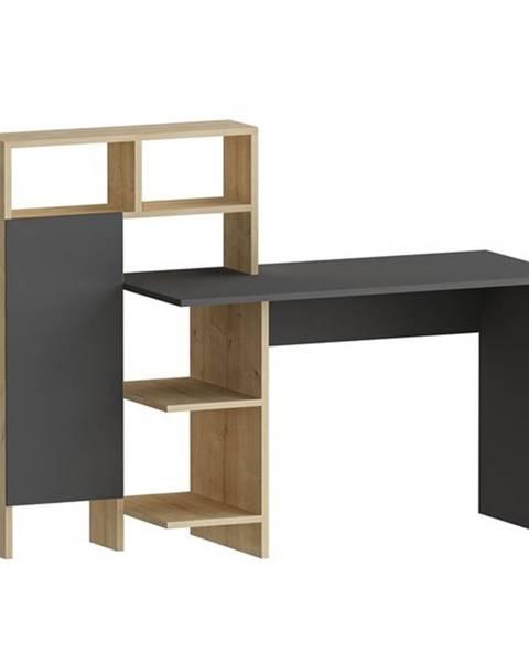 Sconto Písací stôl s regálom BUGRA dub/antracitová