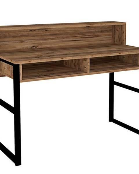 Sconto Pracovný stôl KEMO čierna/orech