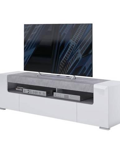TV komoda CANTERO biela vysoký lesk/betón, šírka 190 cm
