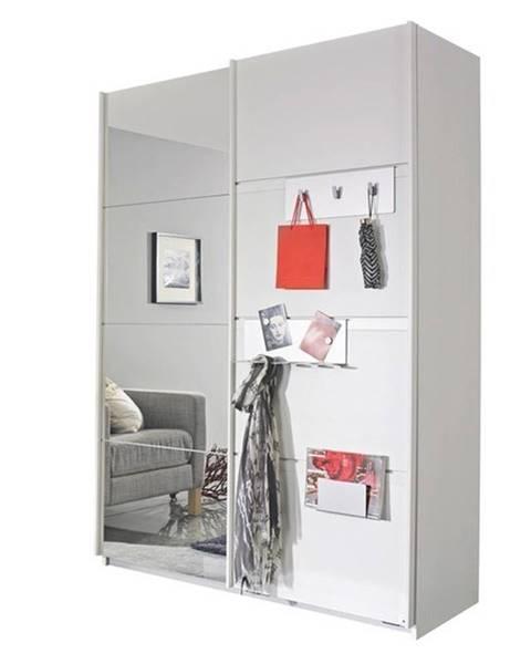 Sconto Šatníková skriňa SHEA alpská biela, 2 dvere, 1 zrkadlo