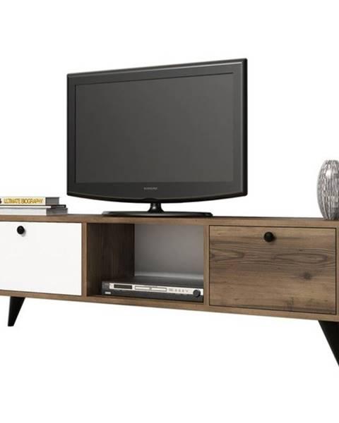 Sconto TV stolík SERENAT orech/čierna/biela