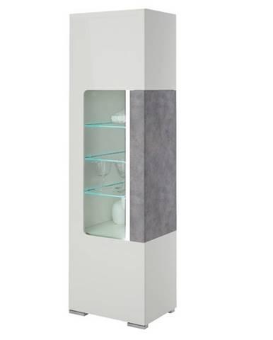 Vitrína CANTERO biela vysoký lesk/betón
