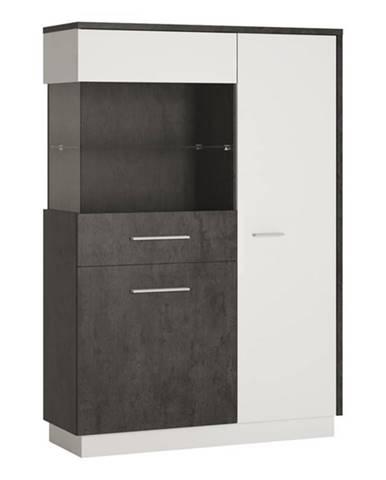 Vitrína ZINGARO ľavá, 3-dverová, biela/sivá