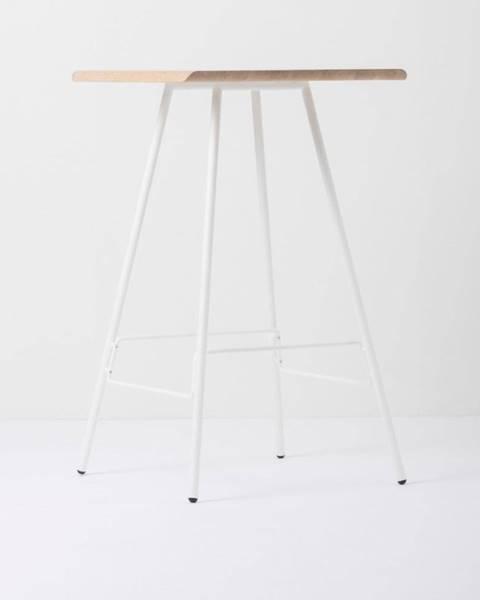 Gazzda Barový stolík s doskou z masívneho dubového dreva a bielymi nohami Gazzda Leina