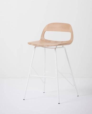 Barová stolička so sedadlom z masívneho dubového dreva a bielymi nohami Gazzda Leina, výška 83cm
