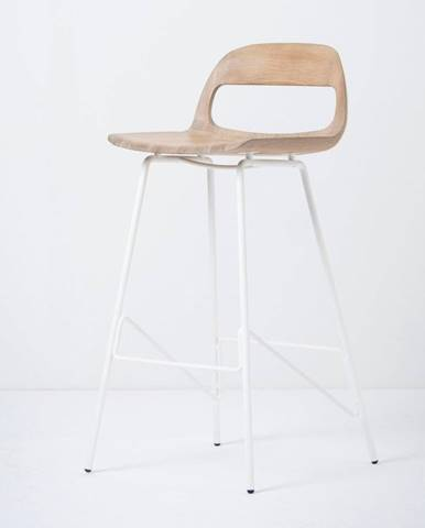 Barová stolička so sedadlom z masívneho dubového dreva a bielymi nohami Gazzda Leina, výška 93cm