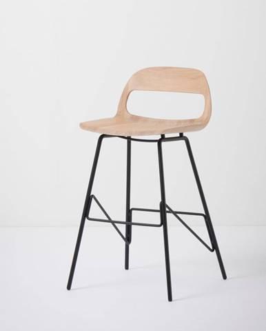 Barová stolička so sedadlom z masívneho dubového dreva a čiernymi nohami Gazzda Leina, výška 83cm