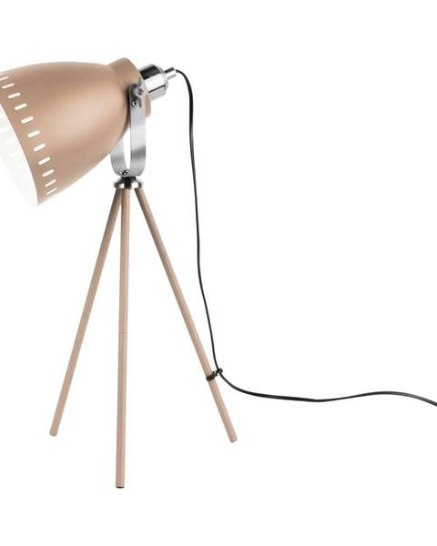 Leitmotiv Pieskovohnedá stolová lampa s detailmi v striebornej farbe Leitmotiv Mingle