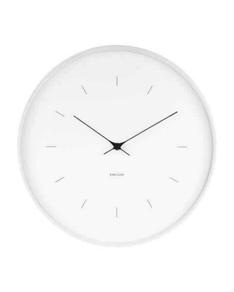 Karlsson Biele nástenné hodiny Karlsson Butterfly, ⌀ 37,5 cm