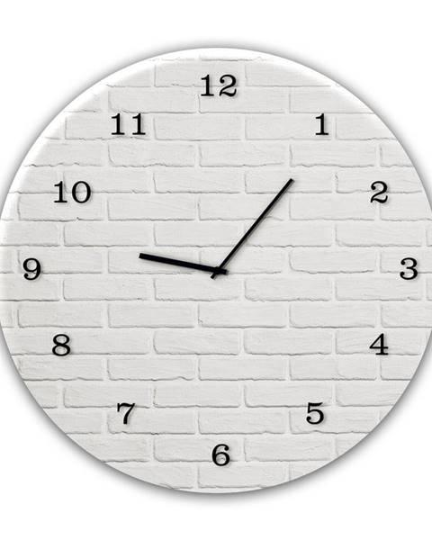 Styler Nástenné hodiny Styler Glassclock White Brick, ⌀ 30 cm