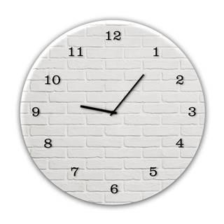 Nástenné hodiny Styler Glassclock White Brick, ⌀ 30 cm