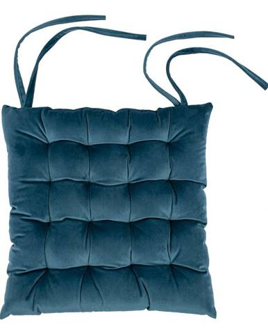 Modrý zamatový vankúš na sedenie Tiseco Home Studio, 37 x 37 cm