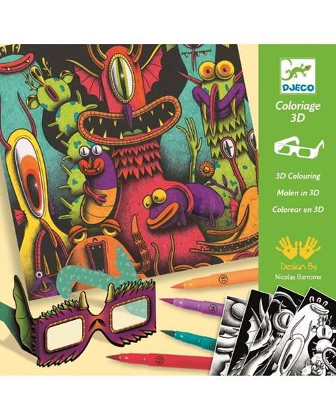 Djeco Výtvarný set s 7 kaligrafickými fixami a 3D okuliarmi Djeco Príšerky