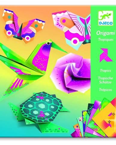 Sada 24 origami papierov s návodom Djeco Neon Tropics