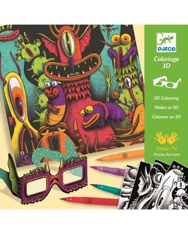 Výtvarný set s 7 kaligrafickými fixami a 3D okuliarmi Djeco Príšerky