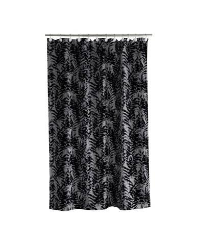 Čierno-sivý sprchový záves Södahl Leaves, 180x200cm