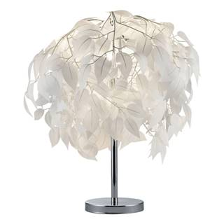 Biela stolová lampa Trio Leavy, výška 60 cm