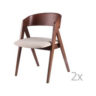 Sada 2 jedálenských stoličiek s béžovým podsedákom sømcasa Rina