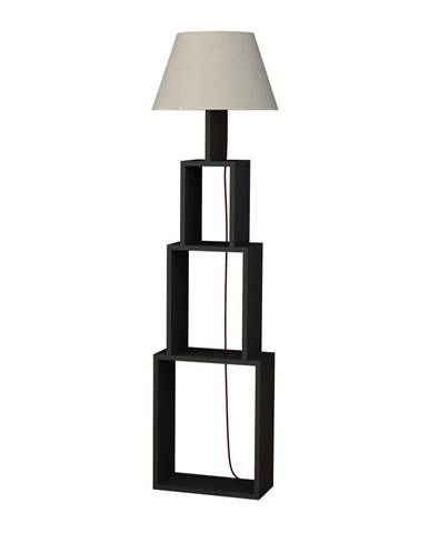 Antracitová voľne stojacia lampa so svetlosivým tienidlom Homitis Tower