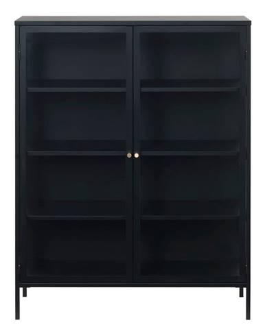 Čierna vitrína Unique Furniture Carmel, výška 140 cm